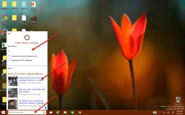 Clicking on the Cortana box in Windows 10 Taskbar