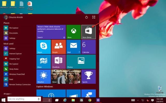 Windows 10 Windows Store from the Start Menu