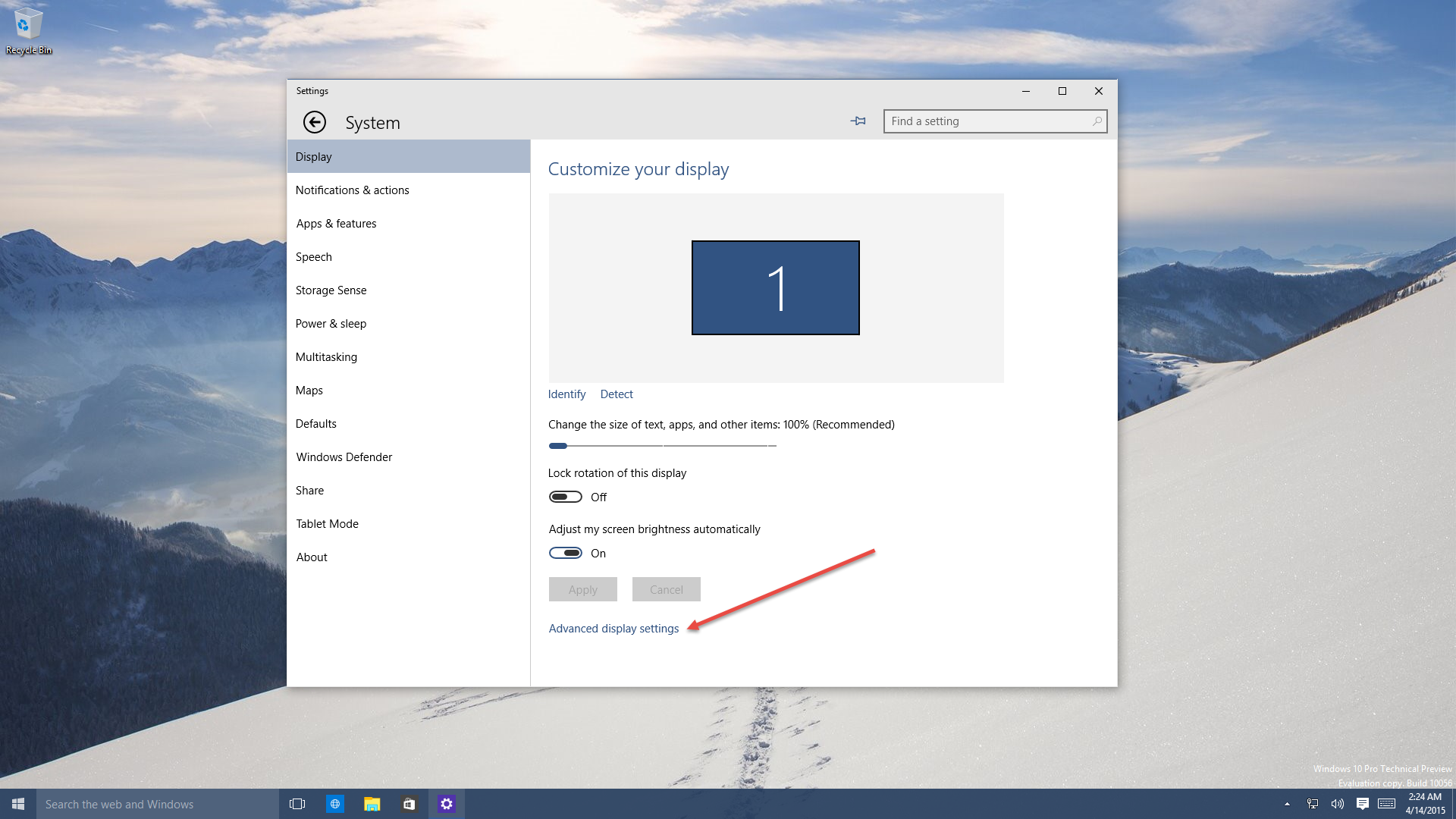 how to find screen resolution windows 10