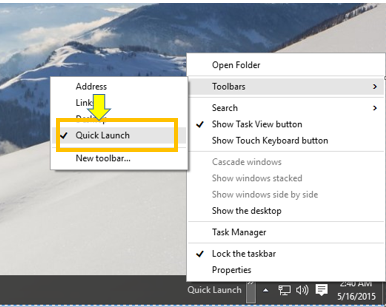 Add or Remove Quick Launch Toolbar