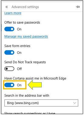 How to Turn On or Off Cortana in Microsoft Edge