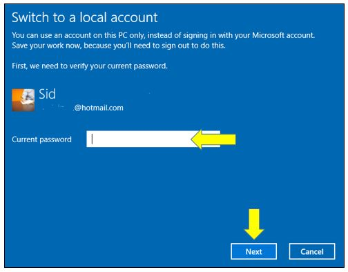 How to Switch to Local Account