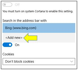 Change Default Search Engine in Microsoft Edge