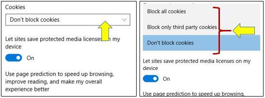 Allow or Block Cookies in Microsoft Edge