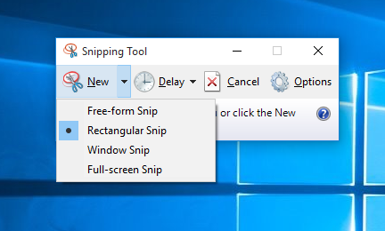 Delay Option in Snipping Tool