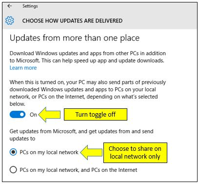 Disable Windows Update Delivery Optimization