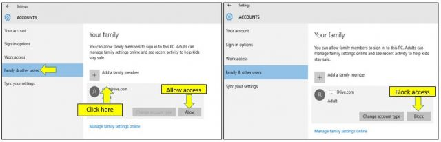 Manage a Family Member Access of The PC