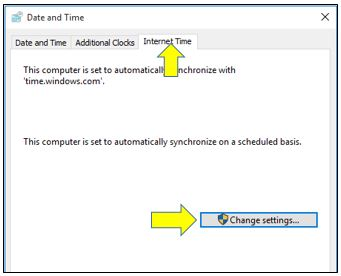 how to synchronize time with Internet time server
