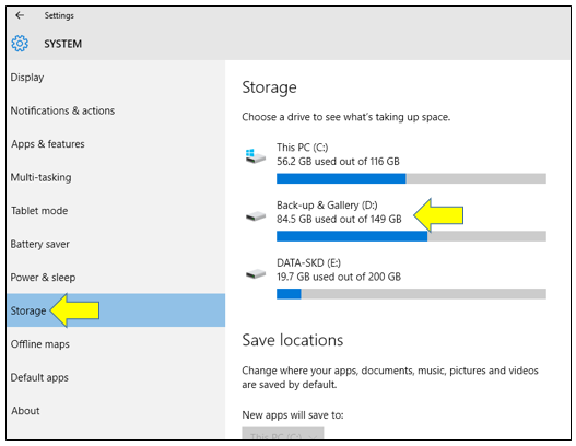 Manage System Storage in Windows 10