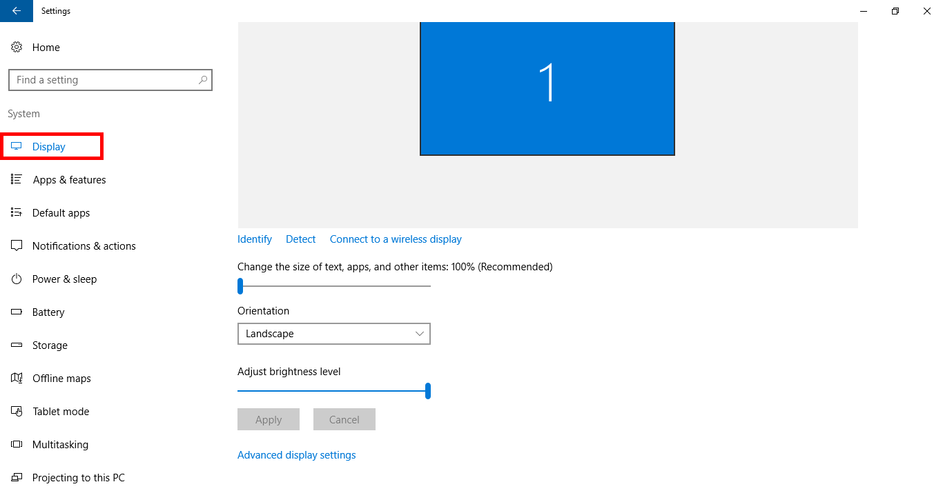 Make screen brighter windows 10 - Just Make Sure Display Is Selected In The Left Pane In This Section Of Settings And You Will See An Option That Says Adjust Brightness Level