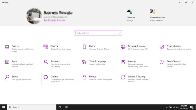 windows 10 settings tab