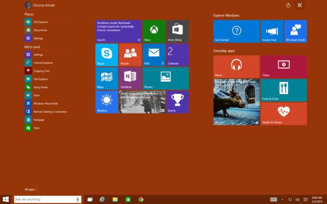 Windows 10 Start Screen Full Screen