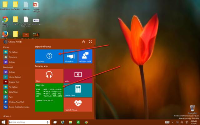 Windows 10 Start Menu scroll down