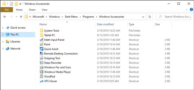 Windows Accessories folders