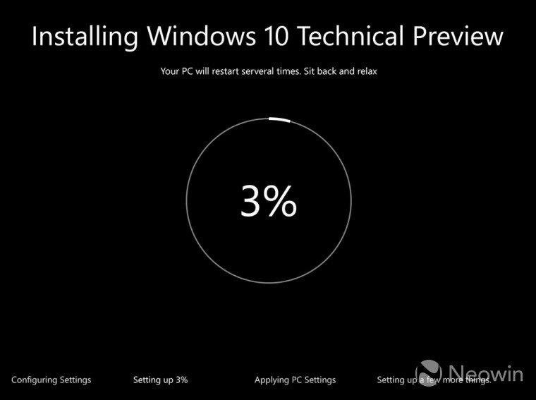The Windows 10 installation interface has been refreshed