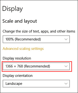 Display resolution drop down
