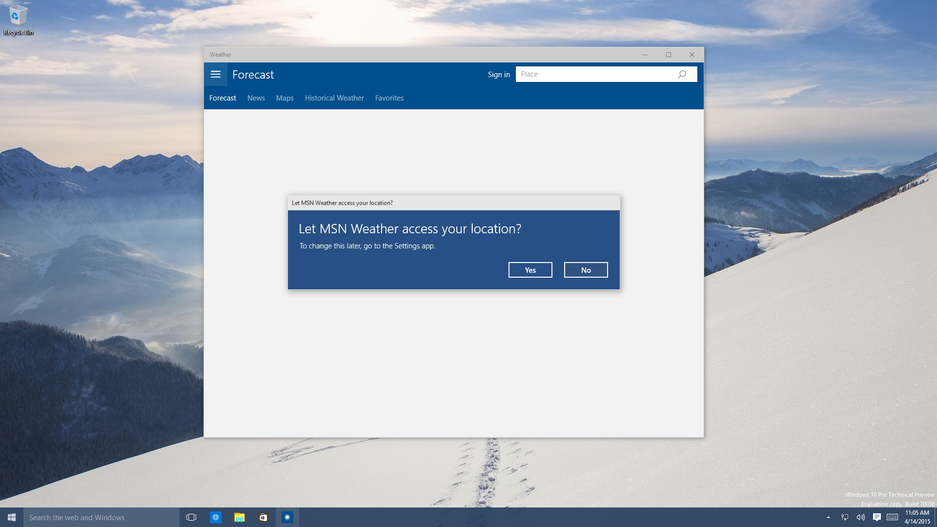 Windows 10 Weather App Updated With Hamburger Icon