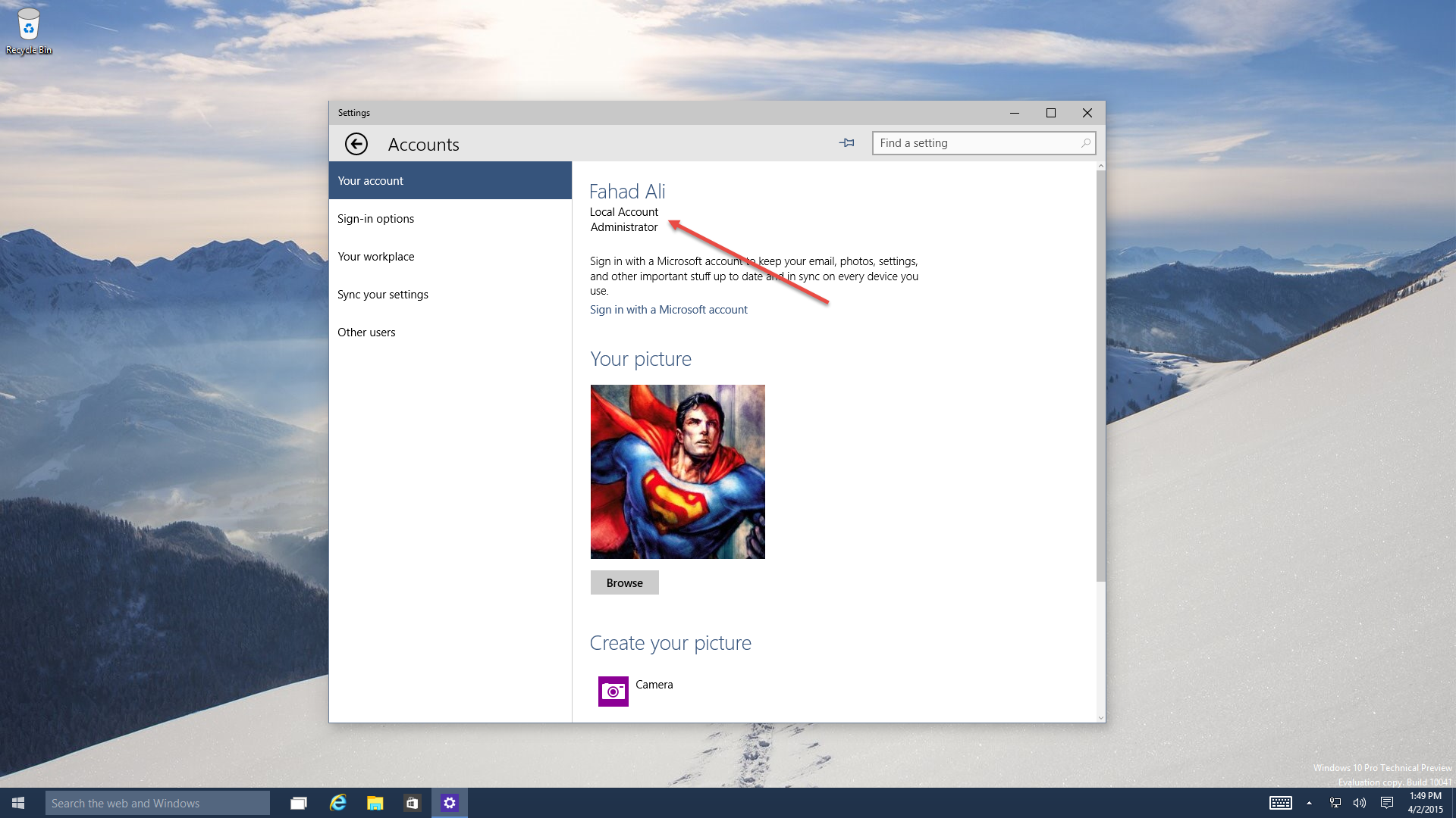 how to add a local account windows 10