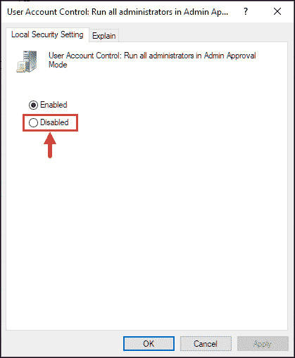 Disable UAC using gpedit