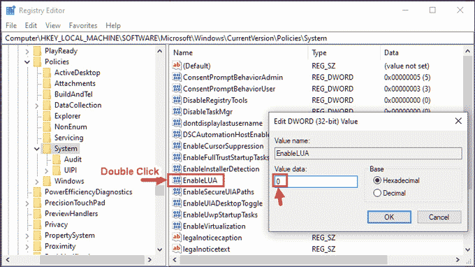 Disable UAC using regedit