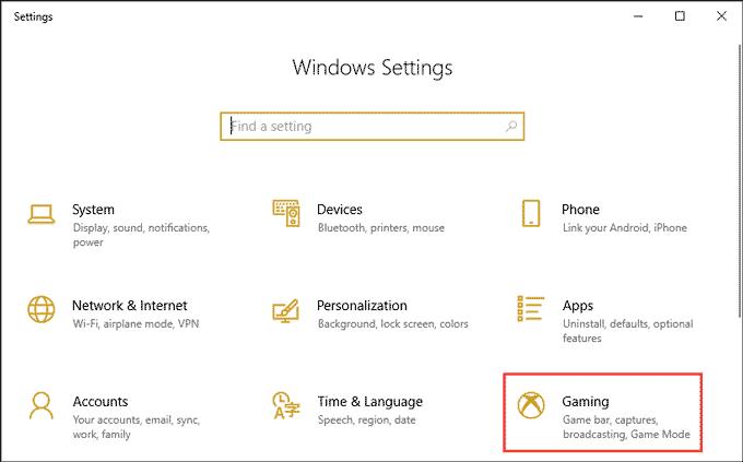 Windows Gaming Settings
