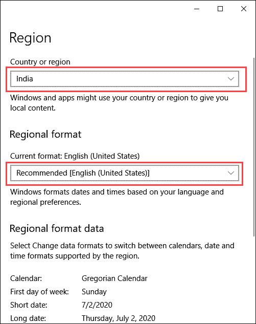 region settings