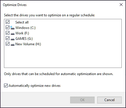 select drives to optimize