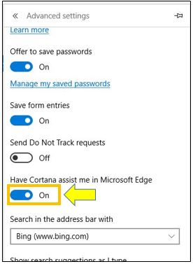 How to Turn On or Off Cortana in Microsoft Edge