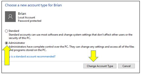 How to Change User Account Type