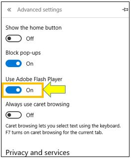 Manage Adobe Flash Player Setting in Microsoft Edge