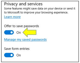 Turn On or Off Save Password Option in Microsoft Edge