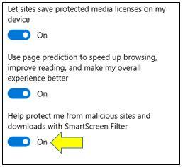 SmartScreen Filter in Microsoft Edge