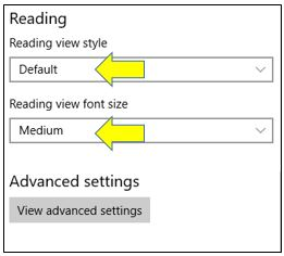Reading View in Microsoft Edge