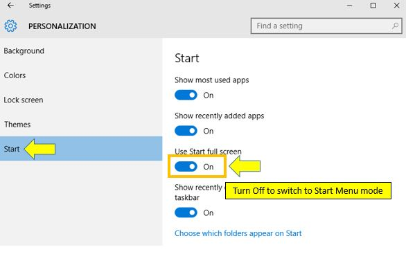 how to switch between the Start menu and Start screen