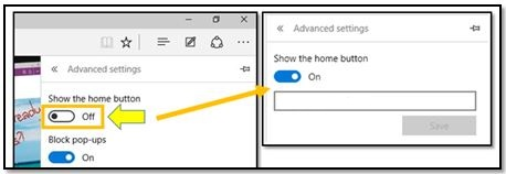 How to get the Home Button Back in Microsoft Edge