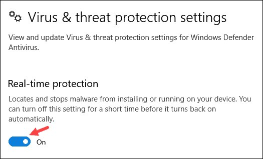 Turn off real time protection