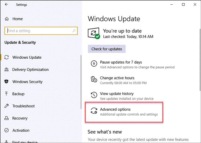 Windows Update Advance Settings