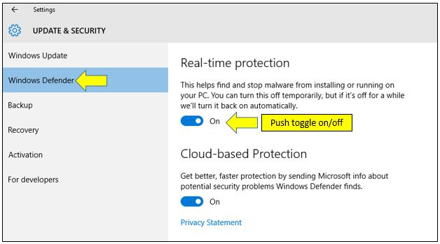 Windows Defender Real-time Protection