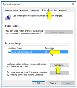 System Protection in Windows 10