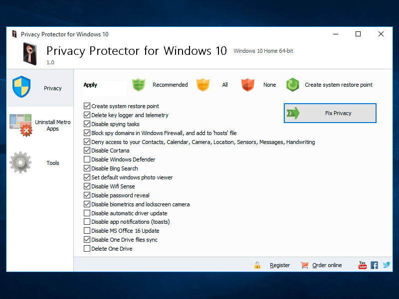 Software Privacy Protector For Windows 10