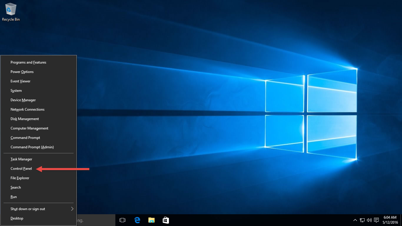 Open the Control Panel in Windows 10