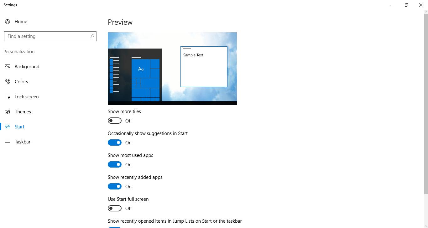 how to get start menu in windows 10