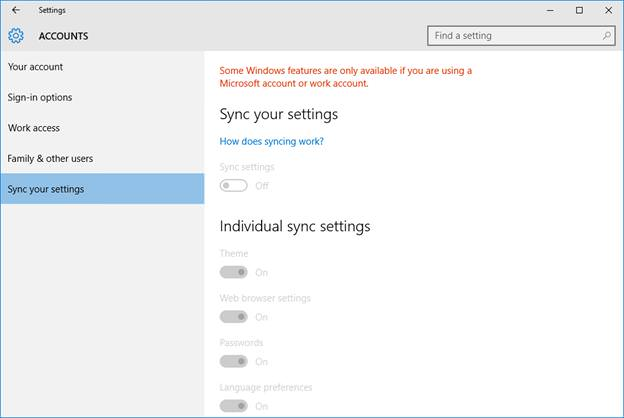 Disable Sync Feature in Windows 10