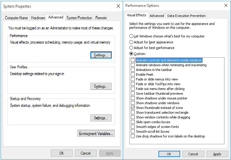 Disable Effects & Animations in Windows 10