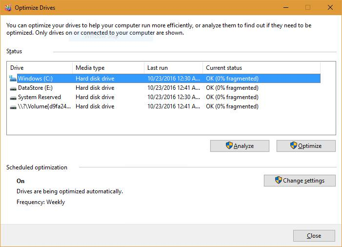 Defragment the Drive in Windows 10