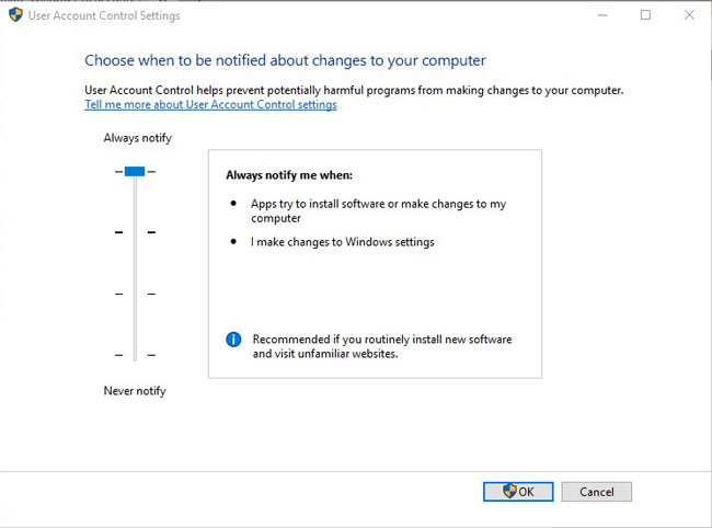 UAC Settings - Windows 10 Security