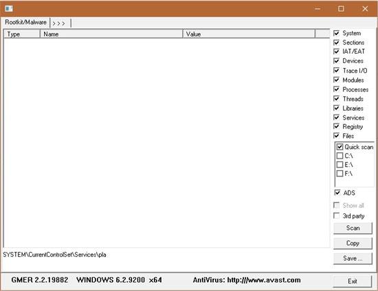 GMER Rootkit Remover