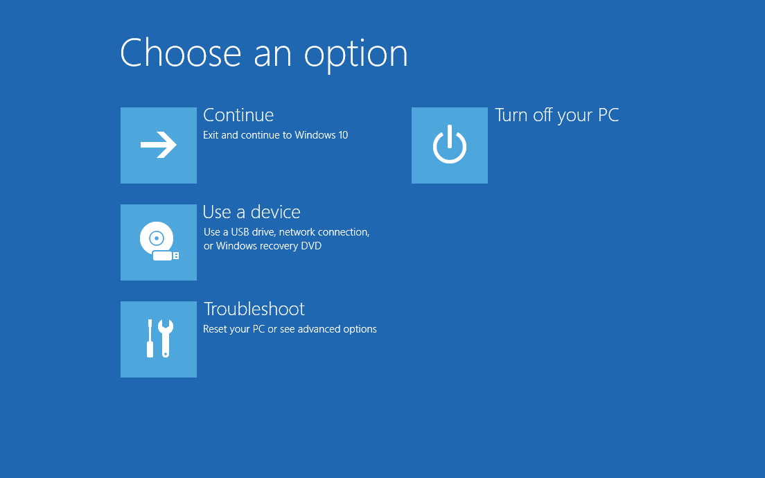 Advanced Startup Options Windows 10