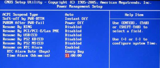 Turn on Computer Automatically Bios