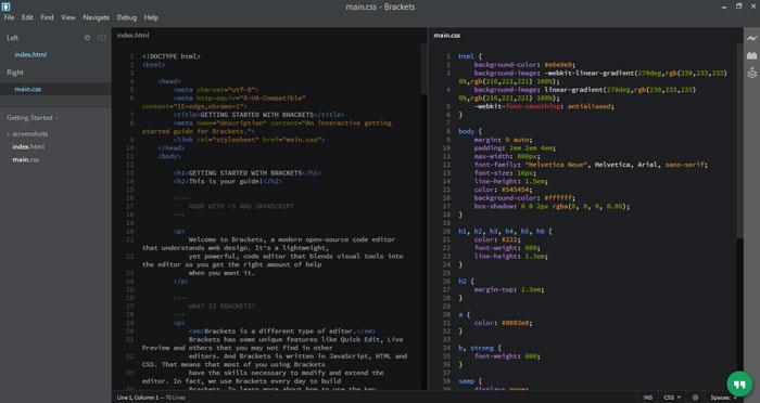 Brackets - Best Editors for Coders